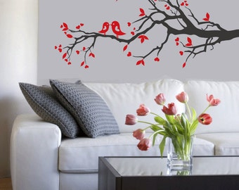 vinyl wall decal -  tree branch with birds - wall art decal