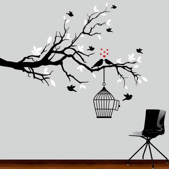 Wall Decal - black and white tree branch decal with birds wall decor