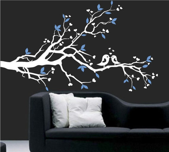 Wall Decal - white tree branch decal with birds - Vinyl Wall Decal