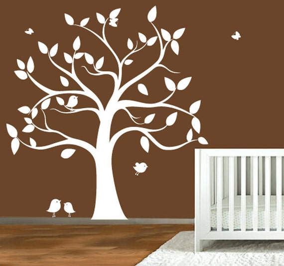 Childrens wall decal tree silhouette with by modernwalldecal - Wall stickers camerette ...