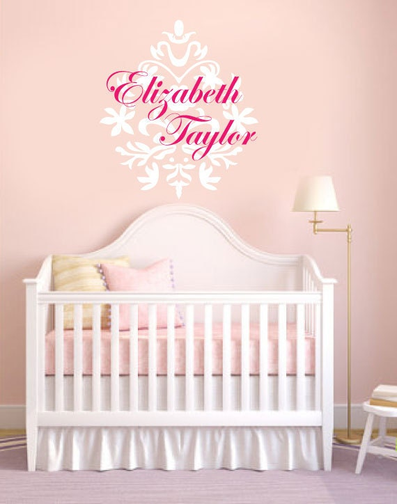 Children Wall Decal - Nursery Wall Decal -  Damask silhouette - monogram wall decal