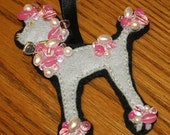 Pink Hand-Beaded Gray Poodle Ornament
