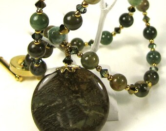 Green Jasper Necklace Earring Combo, Erinite and Gold Swarovski Crystal  Necklace and Earring Set