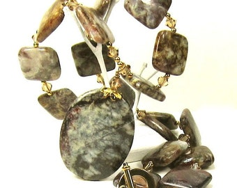 Brown Pietersite Necklace Earring Combo, Smoky Topaz Swarovski Crystal  Necklace and Earring Set