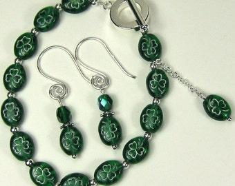 Shamrock Bracelet and Earrings, Green Clover Czech Beads, Perfect for Saint Patrick's Day, Irish Spirit