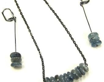 Necklace of Kyanite Gemstones and Gunmetal