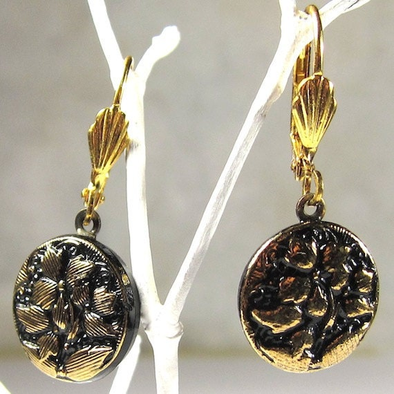 Black and Gold Czech Glass Button Earrings