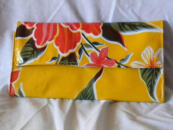 Yellow  Hibiscus Floral Oilcloth Organizer Wallet