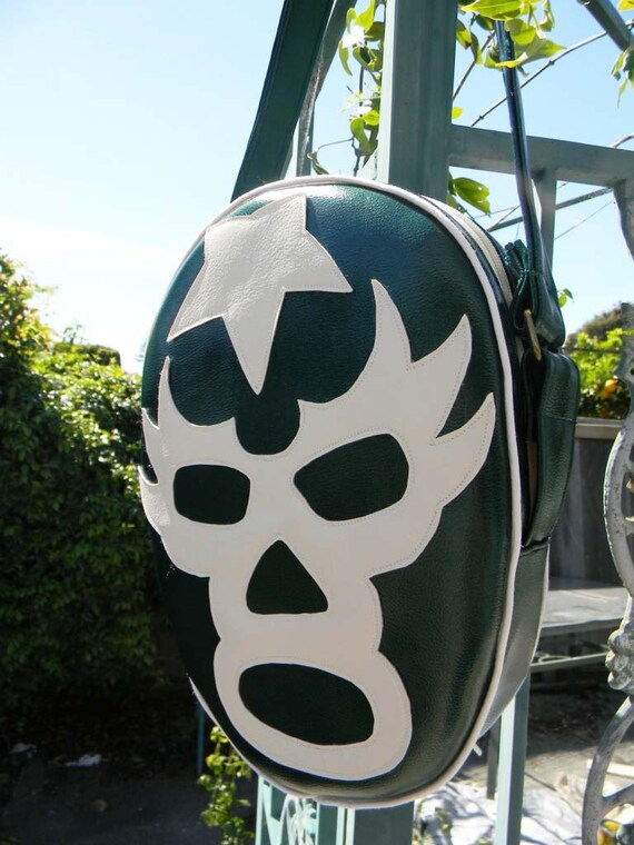 Green Vinyl Luchador Wrestler Mask Messenger Tote Bag