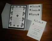 Silver, Black, and Red Damask Metallic Invitation Set