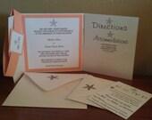 RESERVED LISTING Coral and White Beach Starfish Pocketfold Wedding Invitation Set