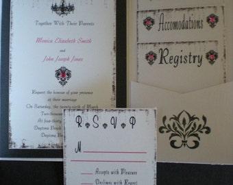 Black, White and Pink Damask Metallic Invitation Set