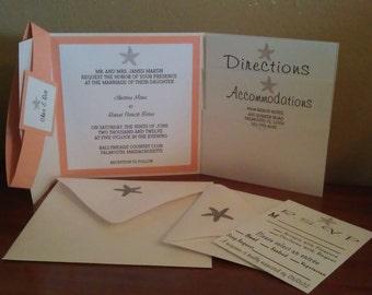 Coral and White Beach Starfish Pocketfold Wedding Invitation Set
