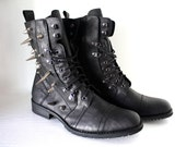 Spiked Faux Leather Combat Boots - Black