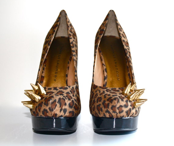 Gold Spiked Suede Pumps- Cheetah Print