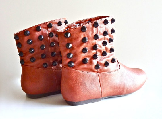 Studded Faux Leather Ankle Boots- Brown