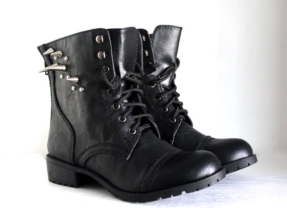 Studded Faux Leather Combat Boots- Black