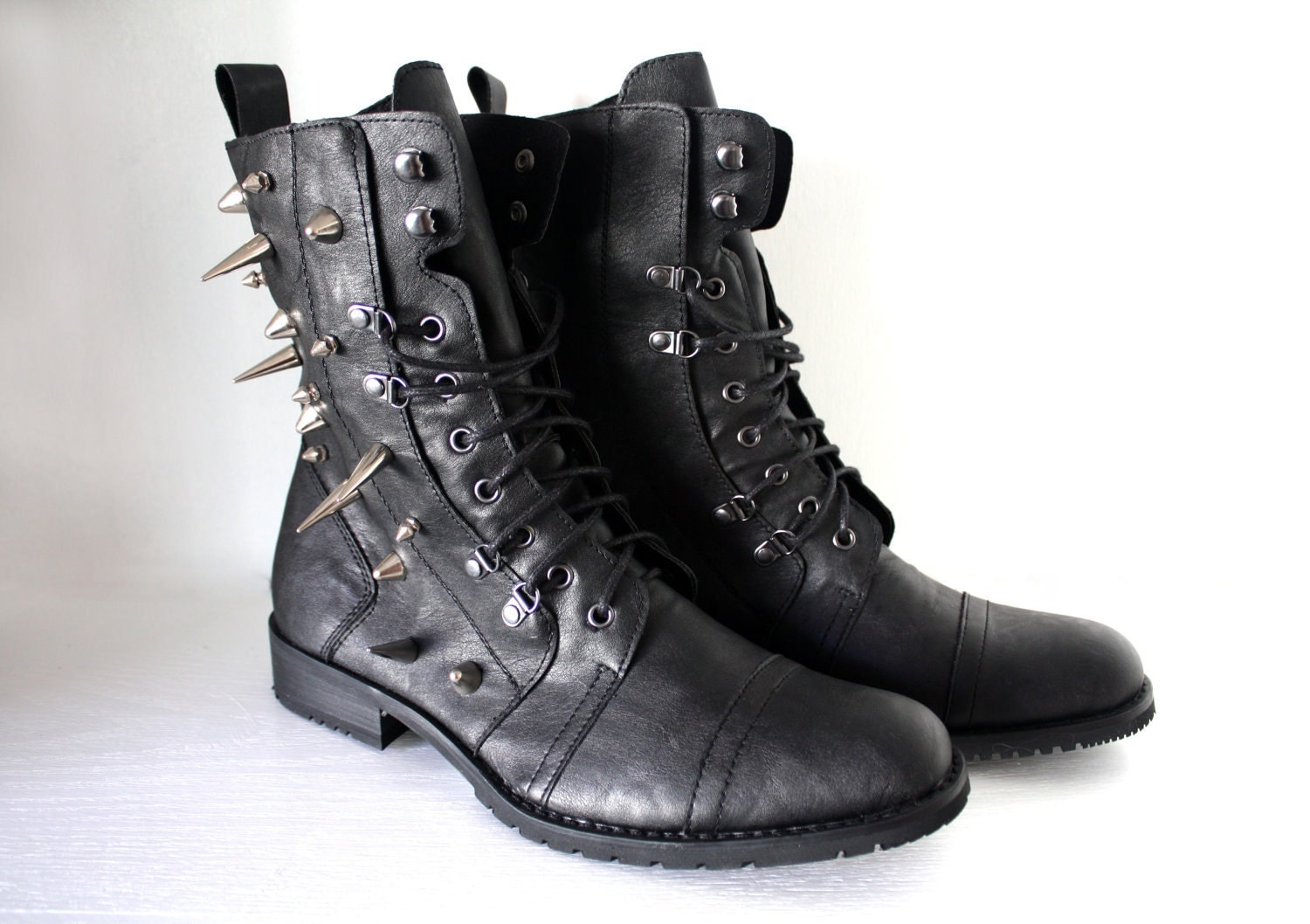 spiked faux leather combat boots black