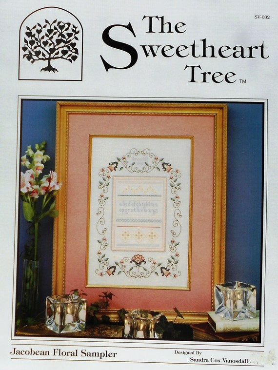 The Sweetheart Tree JACOBEAN FLORAL SAMPLER - Counted Cross Stitch Pattern Chart - By Sandra Cox Vanosdall