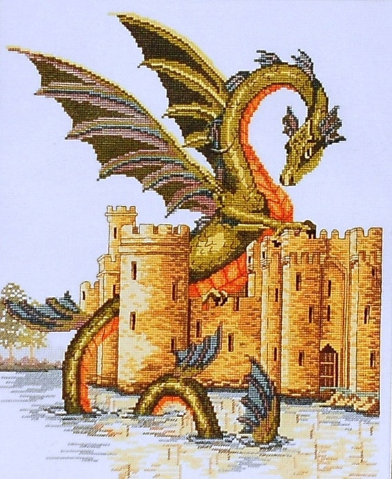 Jan Hagara Cross Stitch Patterns: Janlynn WATER DRAGON & Castle Counted Cross Stitch Pattern