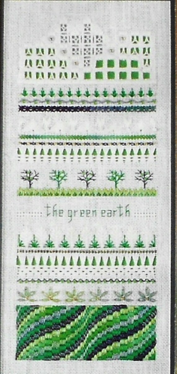 Exquisite The Victoria Sampler THE GREEN EARTH Four Elements & Accessory Pack Kit - Counted Cross Stitch Hardanger Pattern Chart - Thea Duek