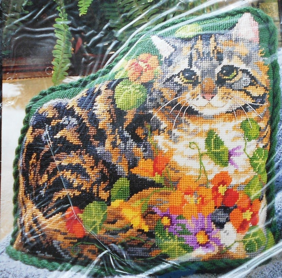 Bucilla Needlepoint GARDEN TABBY Kitty Cat - Tapestry Pillow Pattern ...
