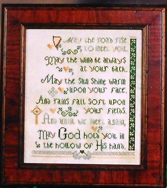 Jan Hagara Cross Stitch Patterns: Erica Michaels OLDE IRISH BLESSING Sampler Counted Cross