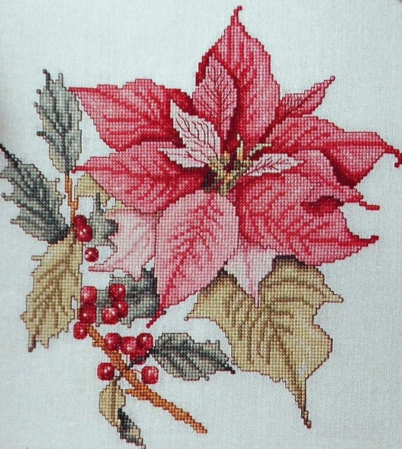 Merilyn Rocks  PRETTY POINSETTIAS Flowers Botanicals Floral - Counted Cross Stitch Pattern Chart - Leisure Arts