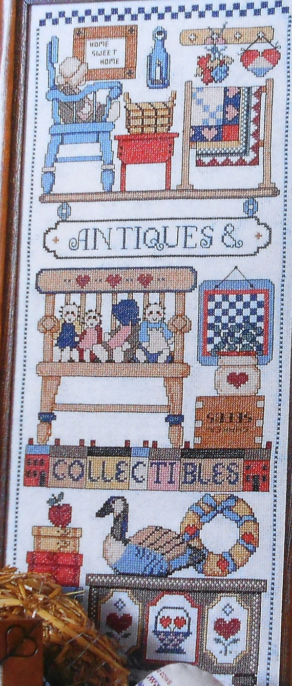 Charming Jeremiah Junction ANTIQUES And COLLECTIBLES SAMPLER - Counted Cross Stitch Pattern Chart - fam