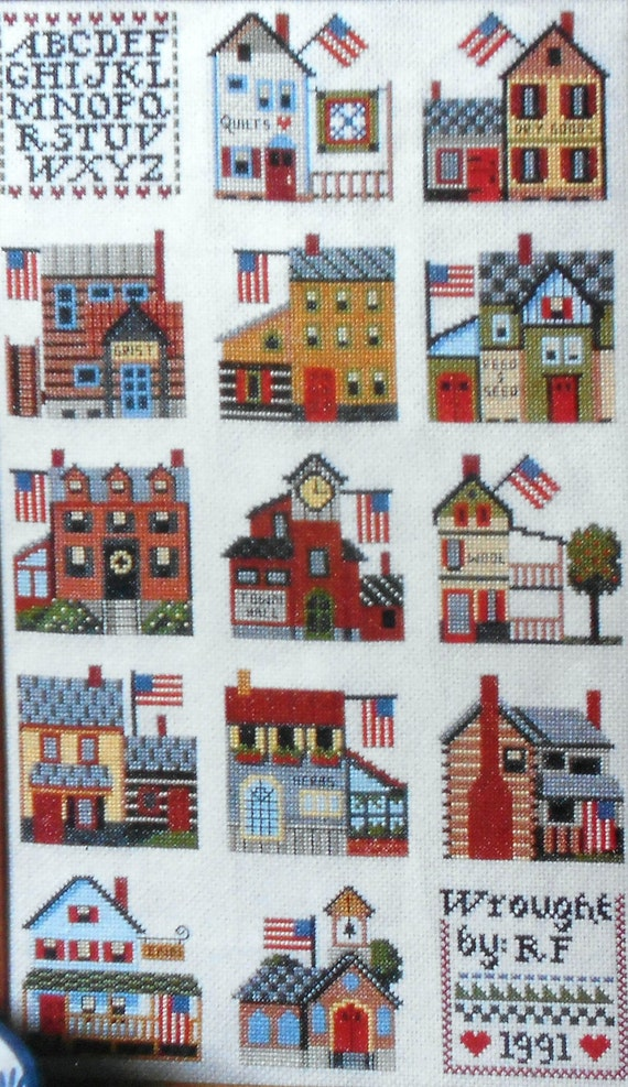 Charming Jeremiah Junction COUNTRY SAMPLER TOWN - Counted Cross Stitch Pattern Chart - fam