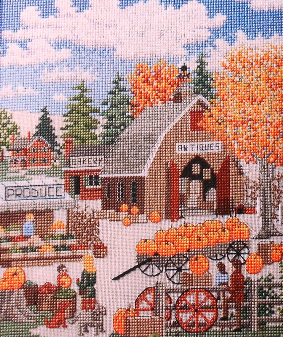 Julia Lucas COUNTRY MARKET Picture - Counted Cross Stitch Pattern Chart fam