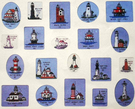 Treetrunk Designs ULTIMATE Book Of LIGHTHOUSES 112 Miniatures Designs - Counted Cross Stitch Pattern