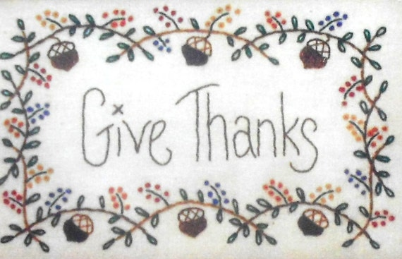 Mac-a-Doodles GIVE THANKS Thanksgiving Punchneedle Embroidery Pattern Template