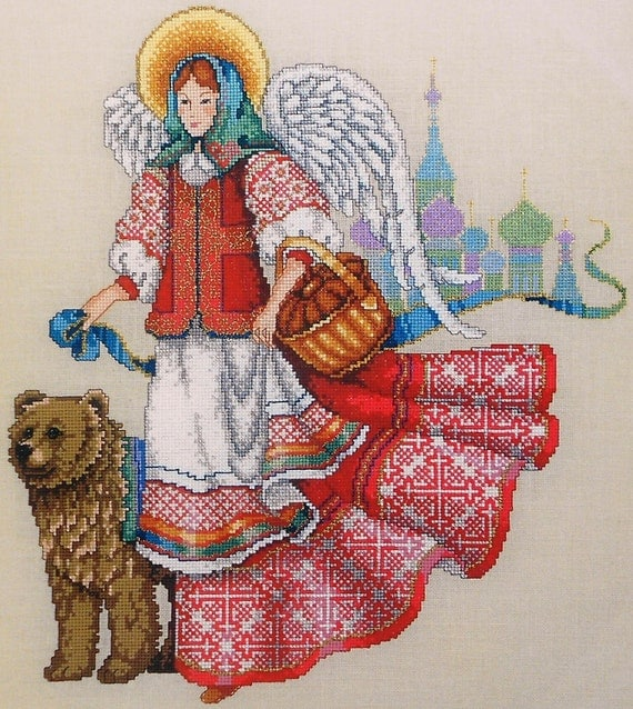 Barbara Baatz Masterpiece Collection RUSSIAN ANGEL Bear Cremlin - Counted Cross Stitch Pattern Chart - American School Of Needlework