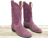 Plum Purple Vintage Suede Pull On Roper Boots by Wrangler Women's size 6 M