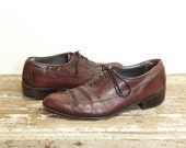 Men's Wingtip Oxford Shoes in Cordovan Leather for Men's size 9