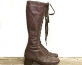 Vintage Tall Brown Lace Up Boots Chunky Heel Knee High Granny Boots Women's size 8