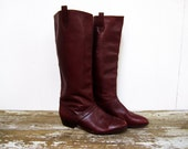 Women's Vintage 7.5 Dark Brown/Plum Equestrian Style Tall Boots
