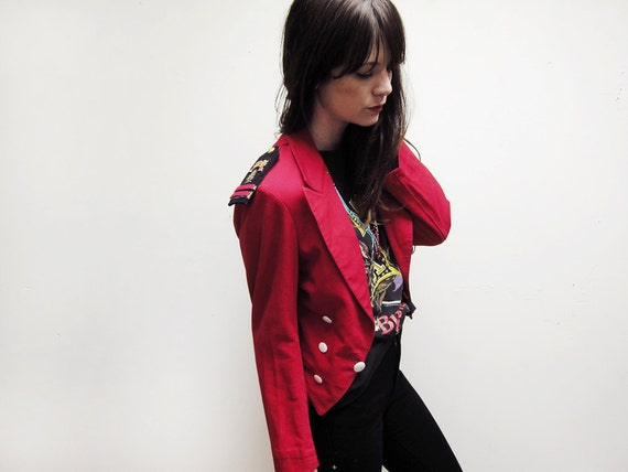 Vintage Red Military Style Blazer Short Jacket with Medals and Patches