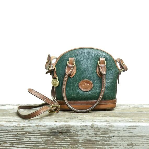 Vintage Dooney & Bourke Small Handbag Hunter Green All Weather Leather Equestrian Purse