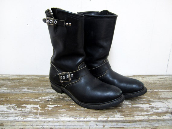Vintage Women's Black Motorcycle Engineer Boots Size 7