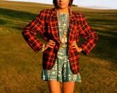 1960s Red and Black Plaid Pendleton Wool Blazer