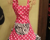 Pink & Zebra Ruffled Girly Apron