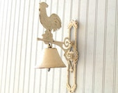 vintage cast iron rooster dinner bell - white