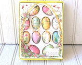 vintage miniature wooden easter eggs - hanging decoration