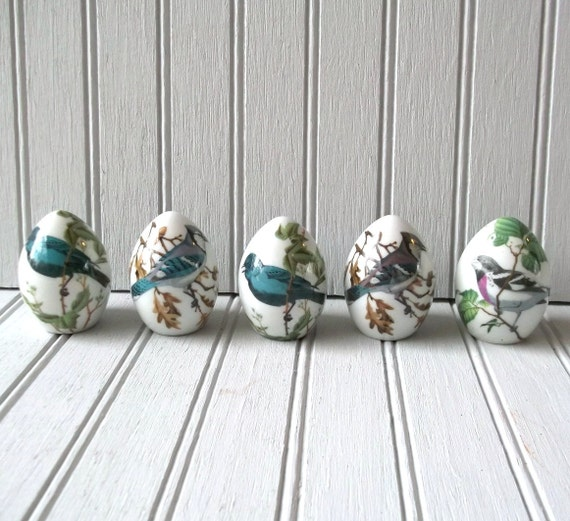 set of five ceramic egg spice shakers