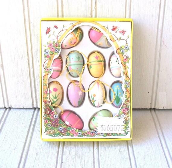 vintage miniature wooden easter eggs - hanging decoration