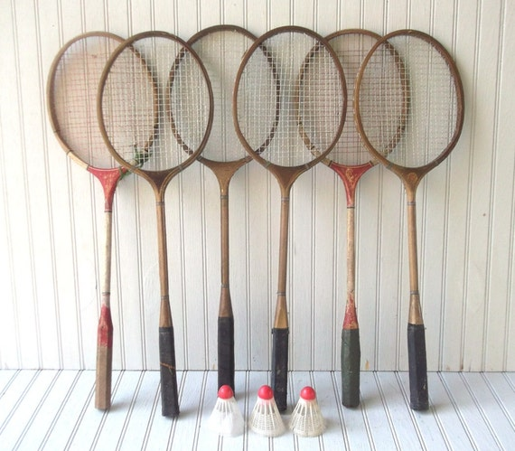 antique badminton set - six rackets and three shuttles