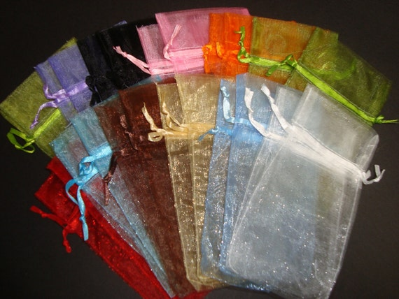 200 Organza Gift Bags Lot - 3 x 4 Inch Multi Color- 12 Colors Included, For Weddings, Parties, Jewelry, Gifts - Fast Shipping