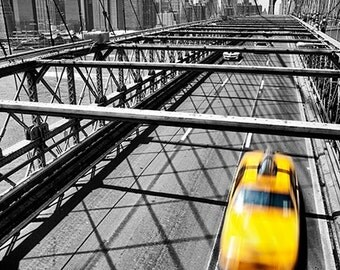 NYC Taxi, Aluminum Photo Print, New York, City, Cityscape, Brooklyn Bridge, Selective Color, Urban, Yellow, Black, White